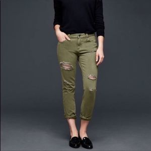 NWT Gap Girlfriend Olive Green Distressed Jeans